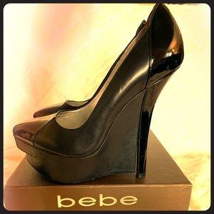 """Bebe """"France"""" black leather platform heels 7"""